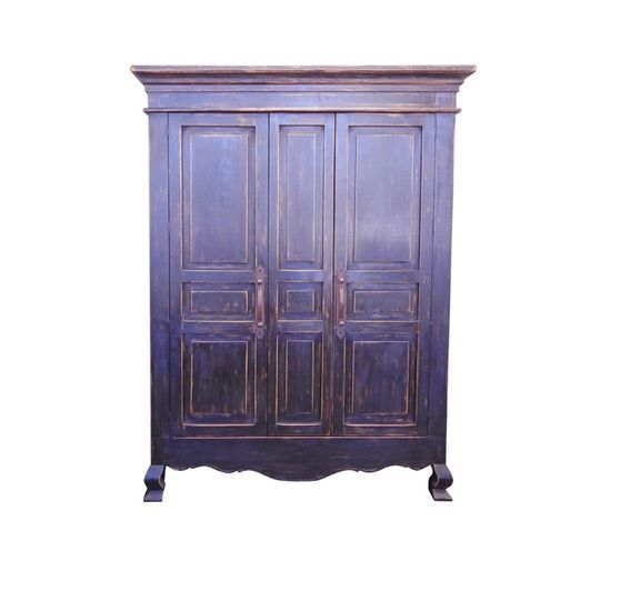 Rustic 2 Door Stone Armoire Aged Black Finish Distressed Solid Wood TV EC  Chic