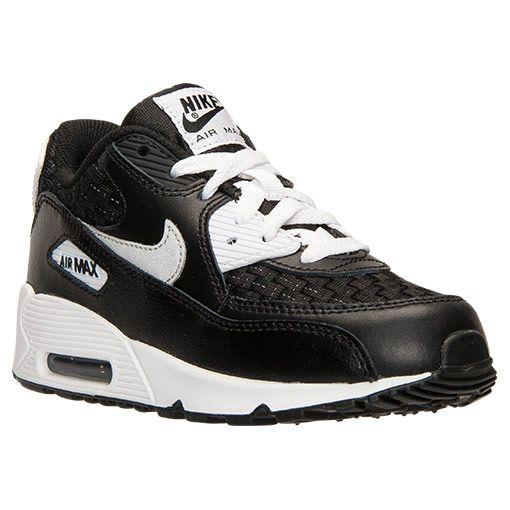 boys' preschool nike air max 90 premium leather running shoes