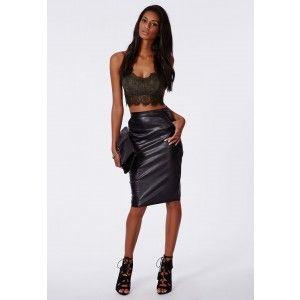 7b992f189b036 Neilina Eyelash Lace Bralet Khaki - Tops - Missguided