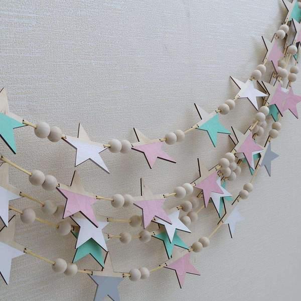 Wooden Star Beads Wall Hanging Banner DIY Baby Nursery Kids Bedroom Home Decor
