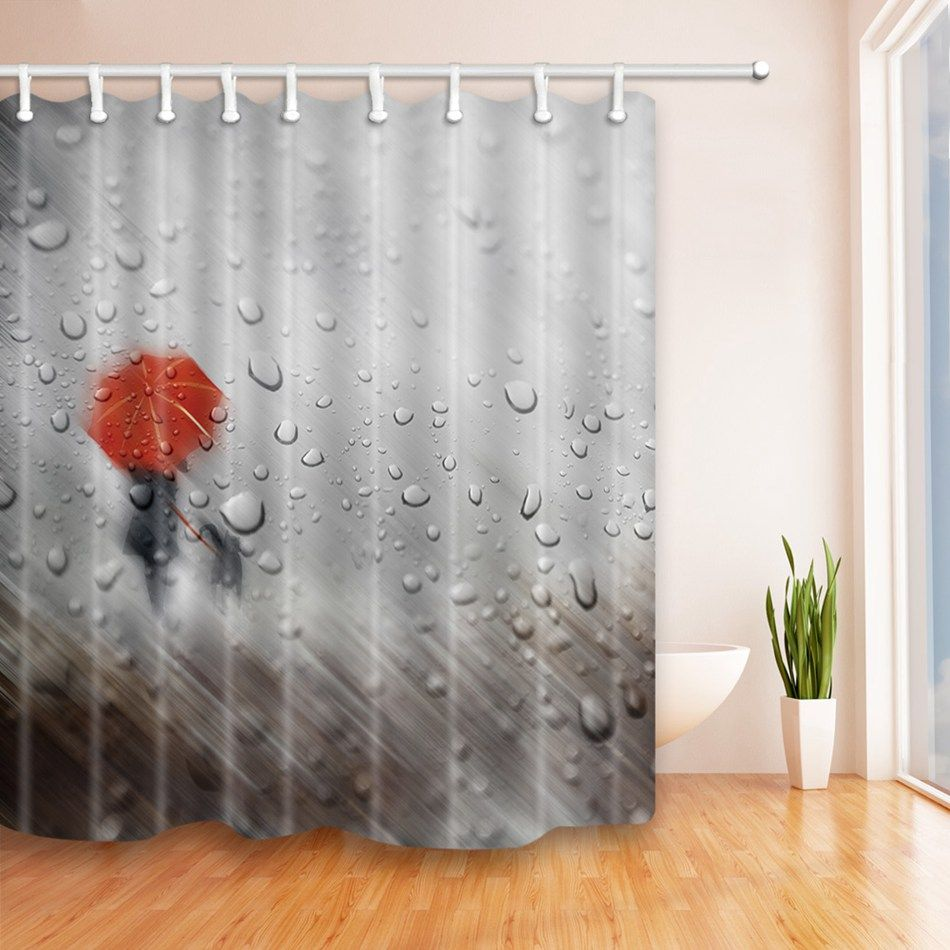 High Quality Arts Shower Curtains Rainy Day Red Umbrella Bathroom