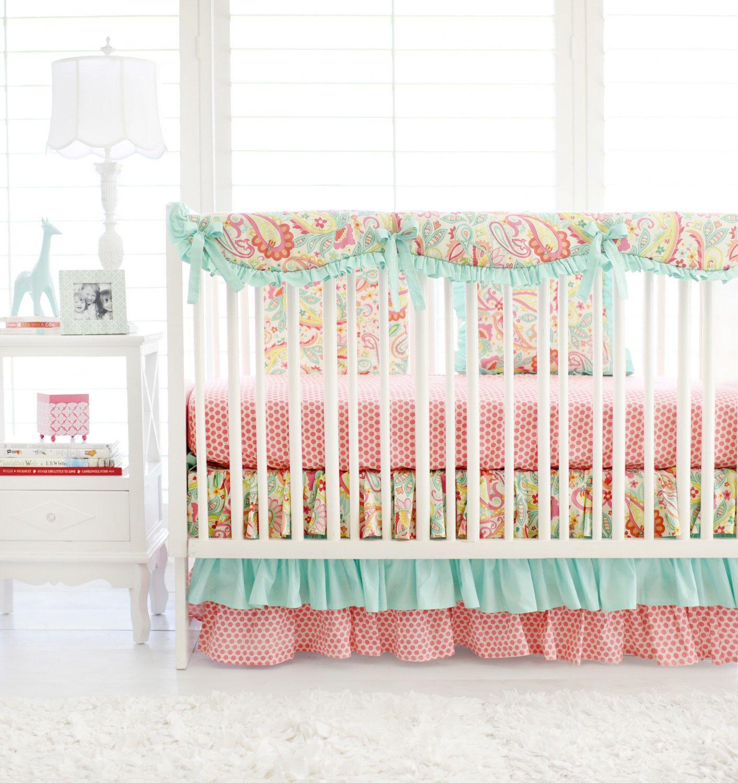 Pink and Aqua Paisley Crib Bedding for Baby Girl