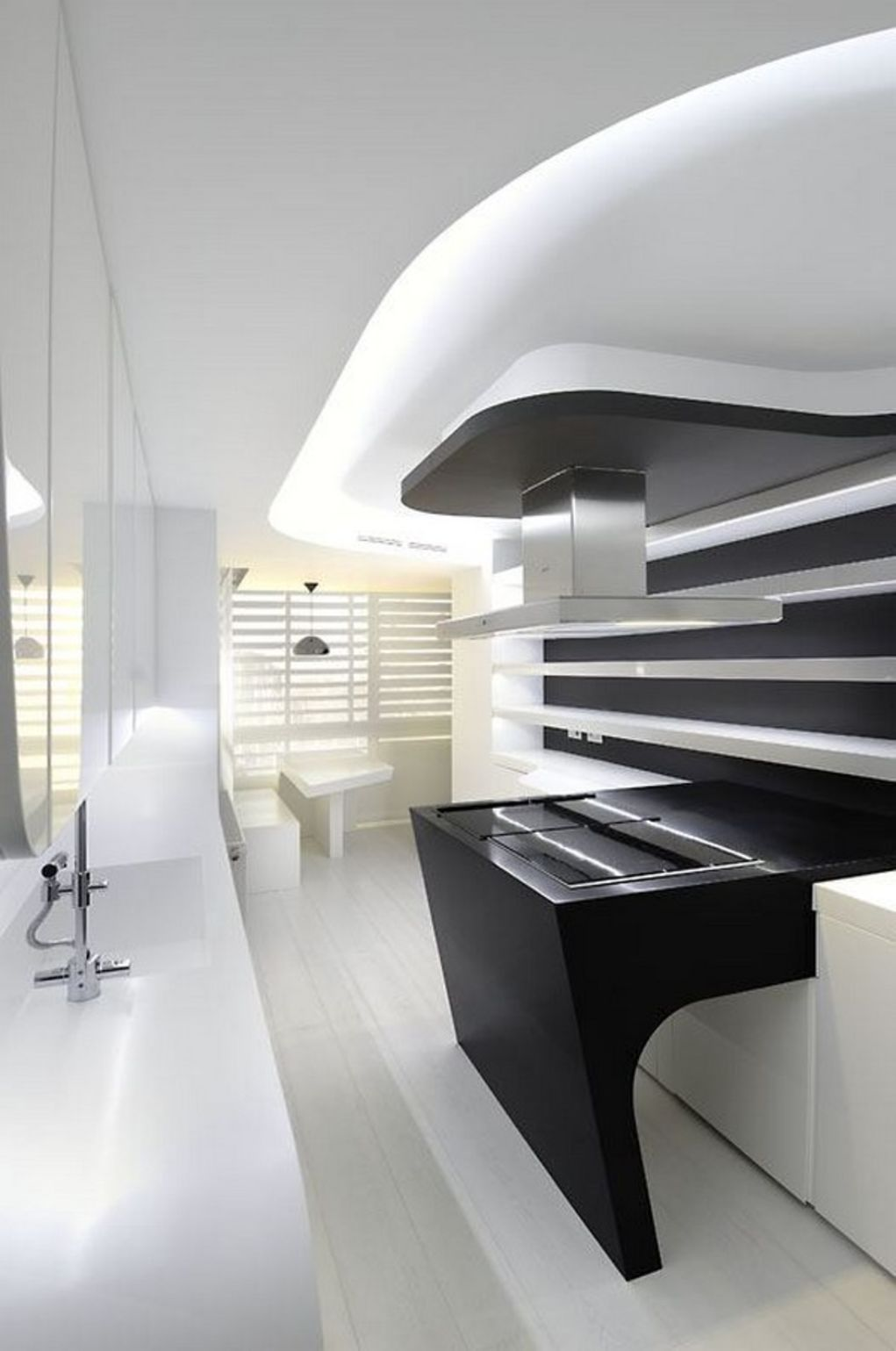 Interesting modern black white apartment by a cero ultralinx