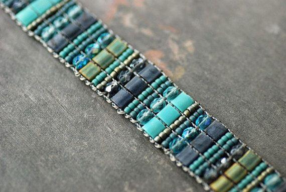 Beaded Bracelet Cuff Aqua and Gray Tribal by EntwyneDesigns