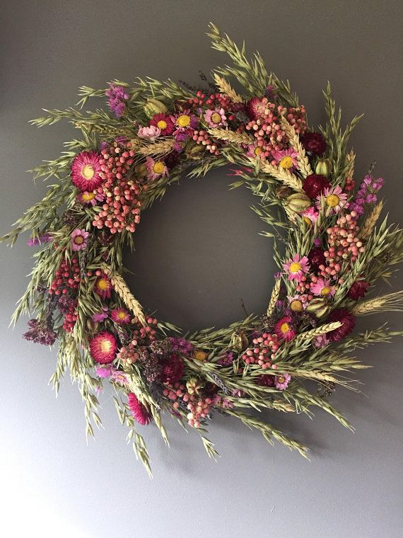 Photo of Dried floral wreath pink floral wall decor pink wreath kitchen wreath summer crane …