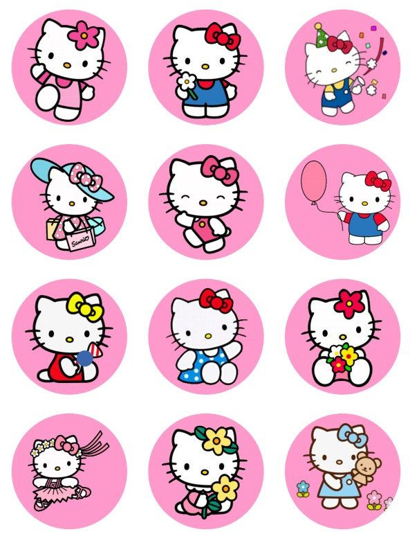Hello Kitty inspired cupcake toppers or stickers favor tags digital ...