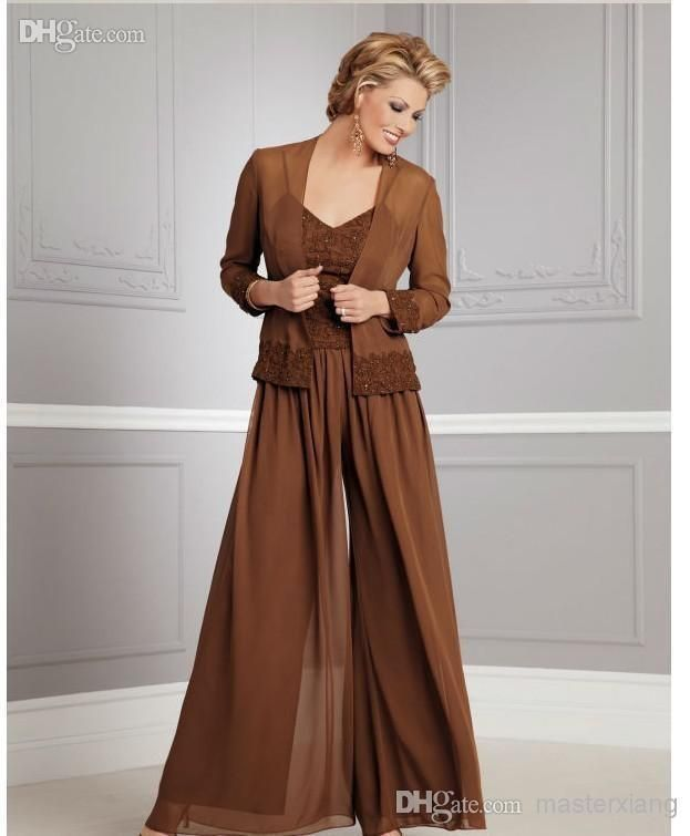 New Chiffon Plus Size long Sleeves Mother of the Bride Pants Suits ...