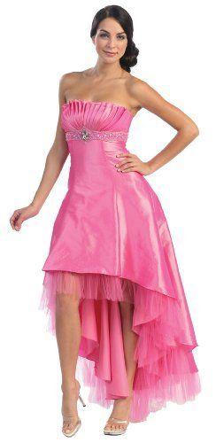 Hot Pink Wedding Gown Hi/Lo Strapless Taffeta Dress Reception $89.99 ...