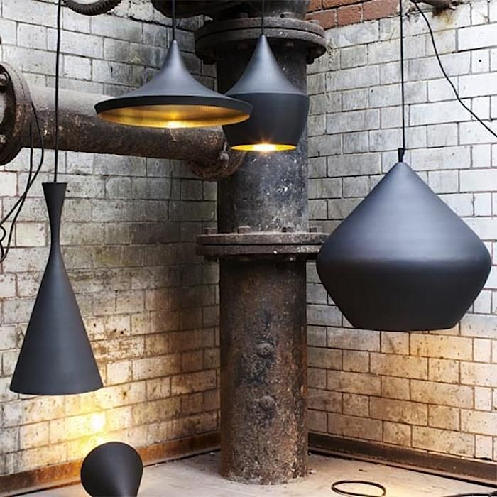 Tom Dixon Beat line of pendant lights - I always love a gilded interior peeking out from behind a black shell!