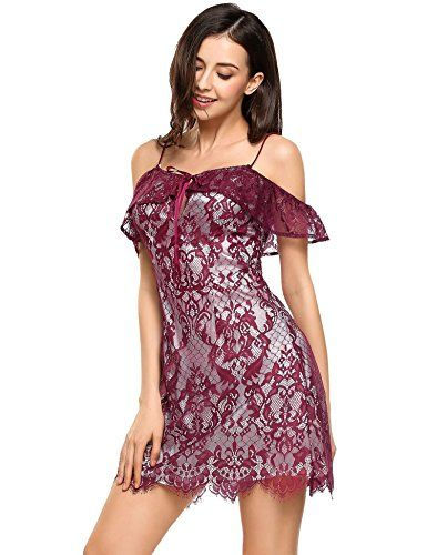 Zeagoo Women Sexy Strap Cold Shoulder Lace Floral A-line Cocktail Party Dress at Amazon Women's Clothing store: