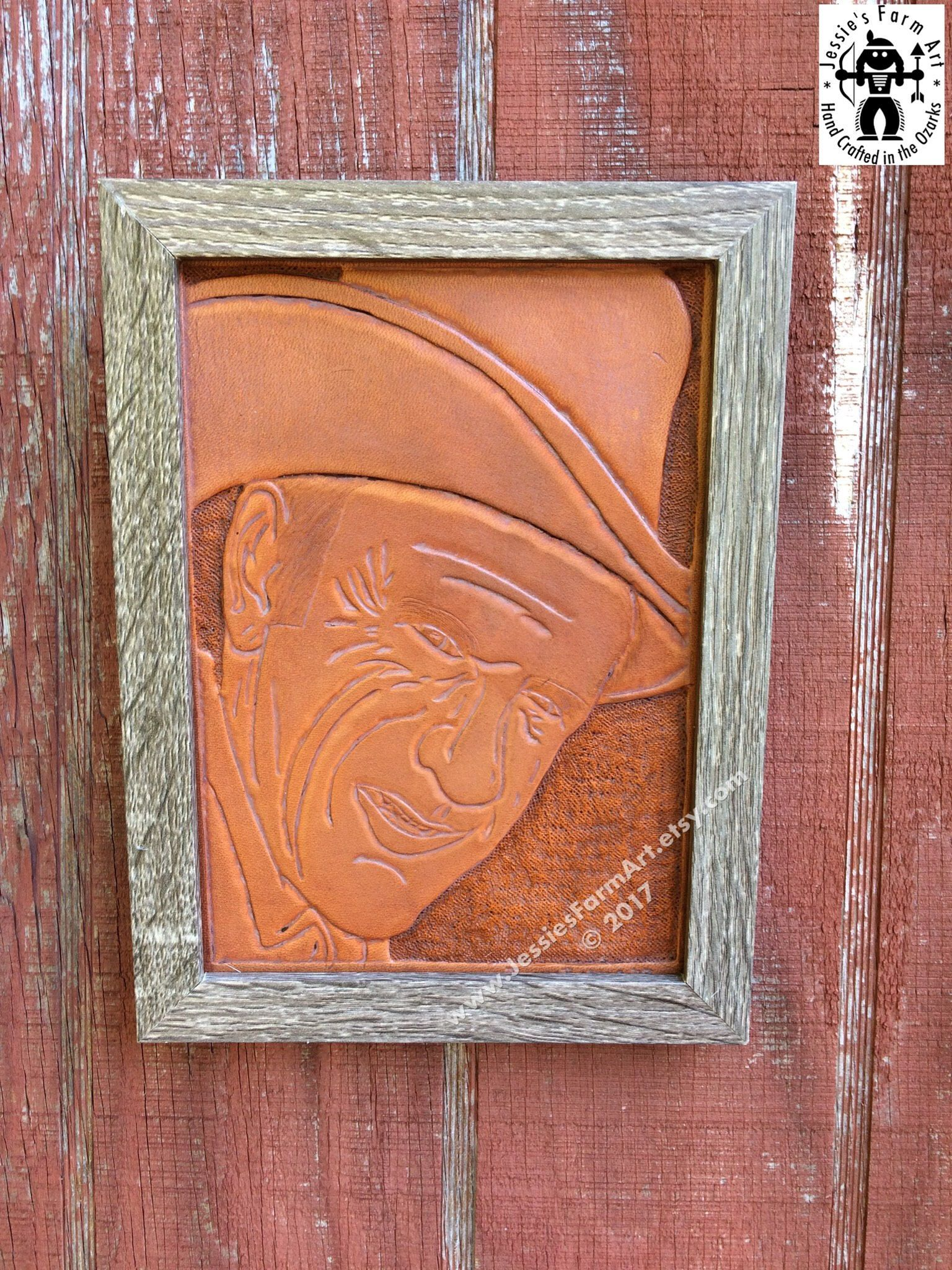 Hand Tooled Leather Wall Art Decor Marshal Matt Dillion Portrait