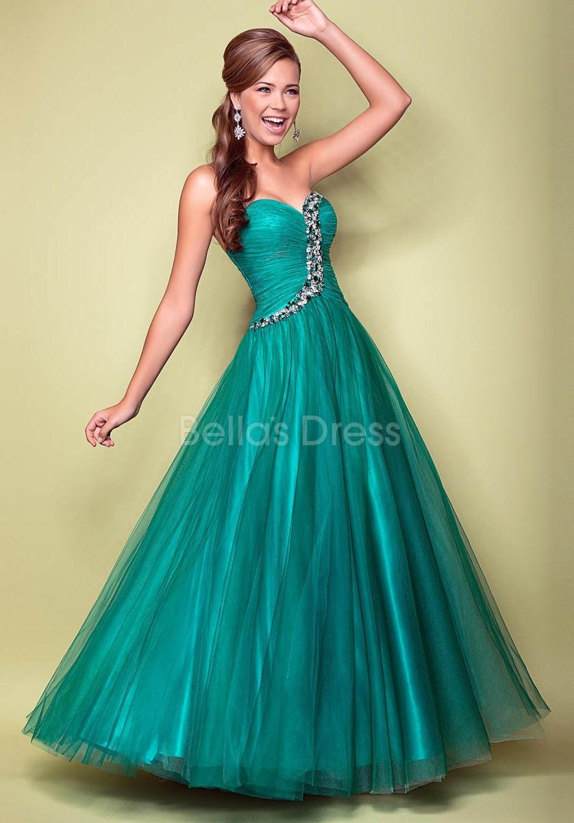 Natural waist tulle a line floor length sweetheart prom dresses