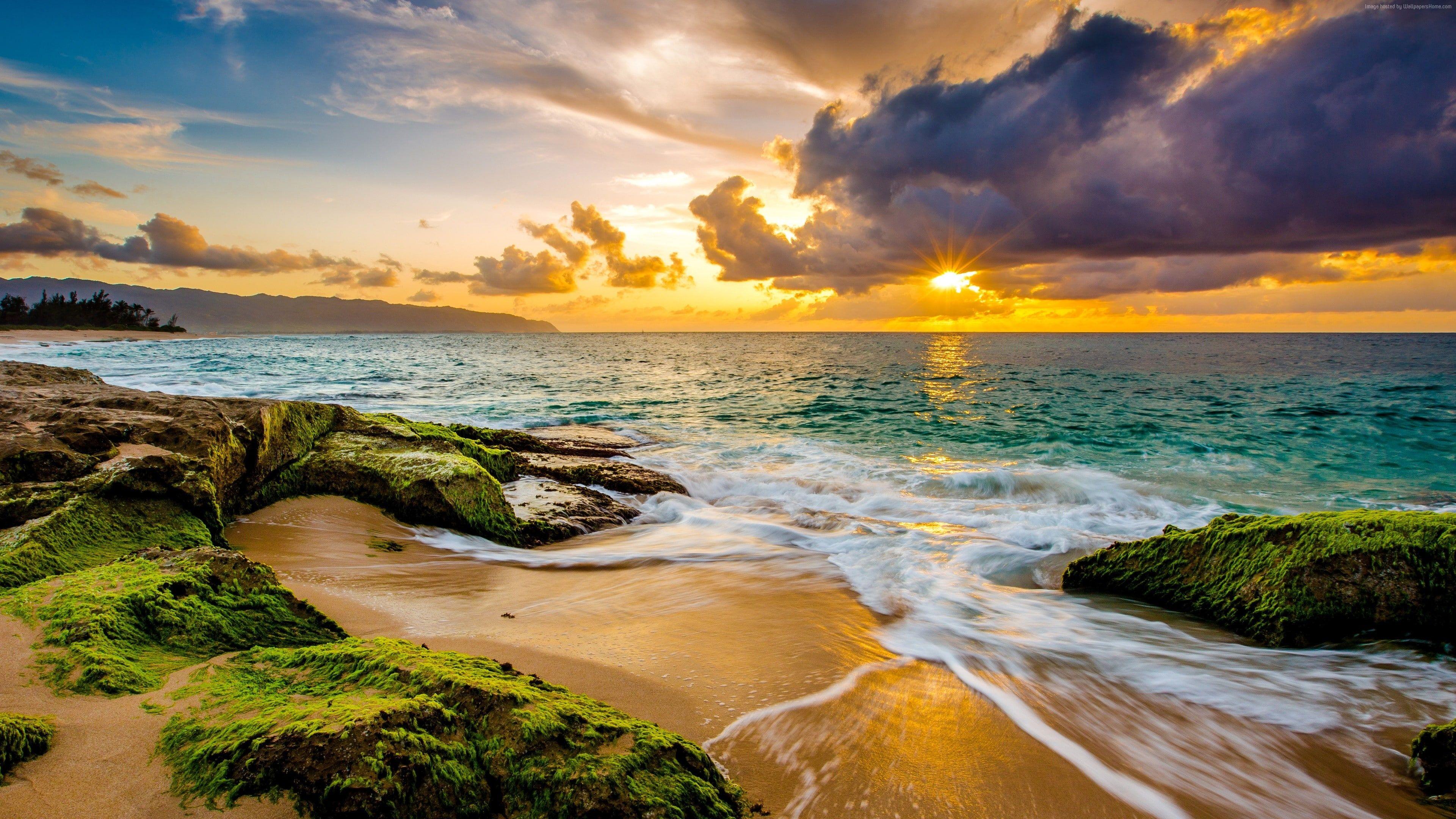 Sky 4k Sunset Hawaii Beach Coast Ocean 4k Wallpaper Hdwallpaper Desktop Sunset Photography Hawaii Beaches Best Honeymoon Destinations