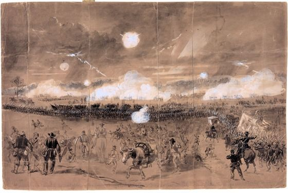 Couch's Corps forming line of battle in the fields at Chancellorsville to cover the retreat of the Eleventh Corps disgracefully running away.  Drawing by Alfred R. Waud