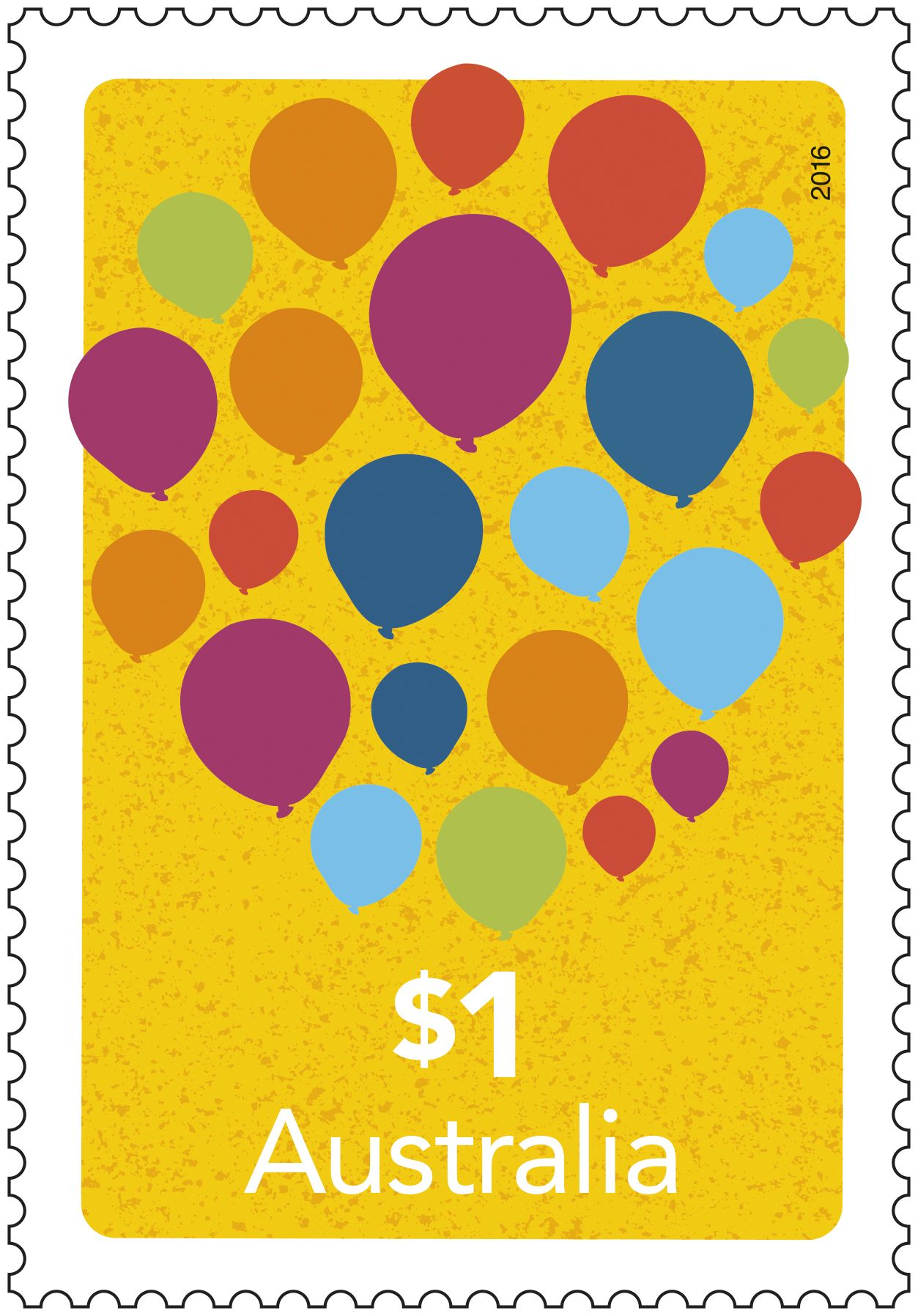 Stamp: Balloons Designer: Sierra Delta Denomination: $1 Stamp size: 26mm x 37.5mm Perforations: 14.6 x 13.86 The $1 balloons stamp is a great way to send that personalised letter for birthdays, greetings or just to brighten up someone's day. #StampCollecting, #AustralianStamps, #Philatelic, #Philately, #AusPostCollectables, #StampCollection, #Celebrate, #Birthday, #Greetings, #Balloons, #PersonalisedStamps,  Issue title: Love to Celebrate Issue date: 25/01/2016
