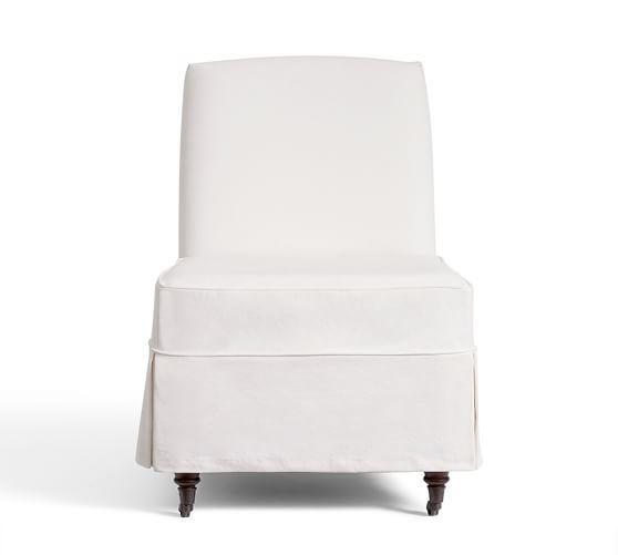 Exceptional Maxton Slipcovered Slipper Chair   Denim Warm White | Pottery Barn