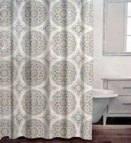 Caro Fabric Shower Curtain Round Circle Medallions Charcoal Dark