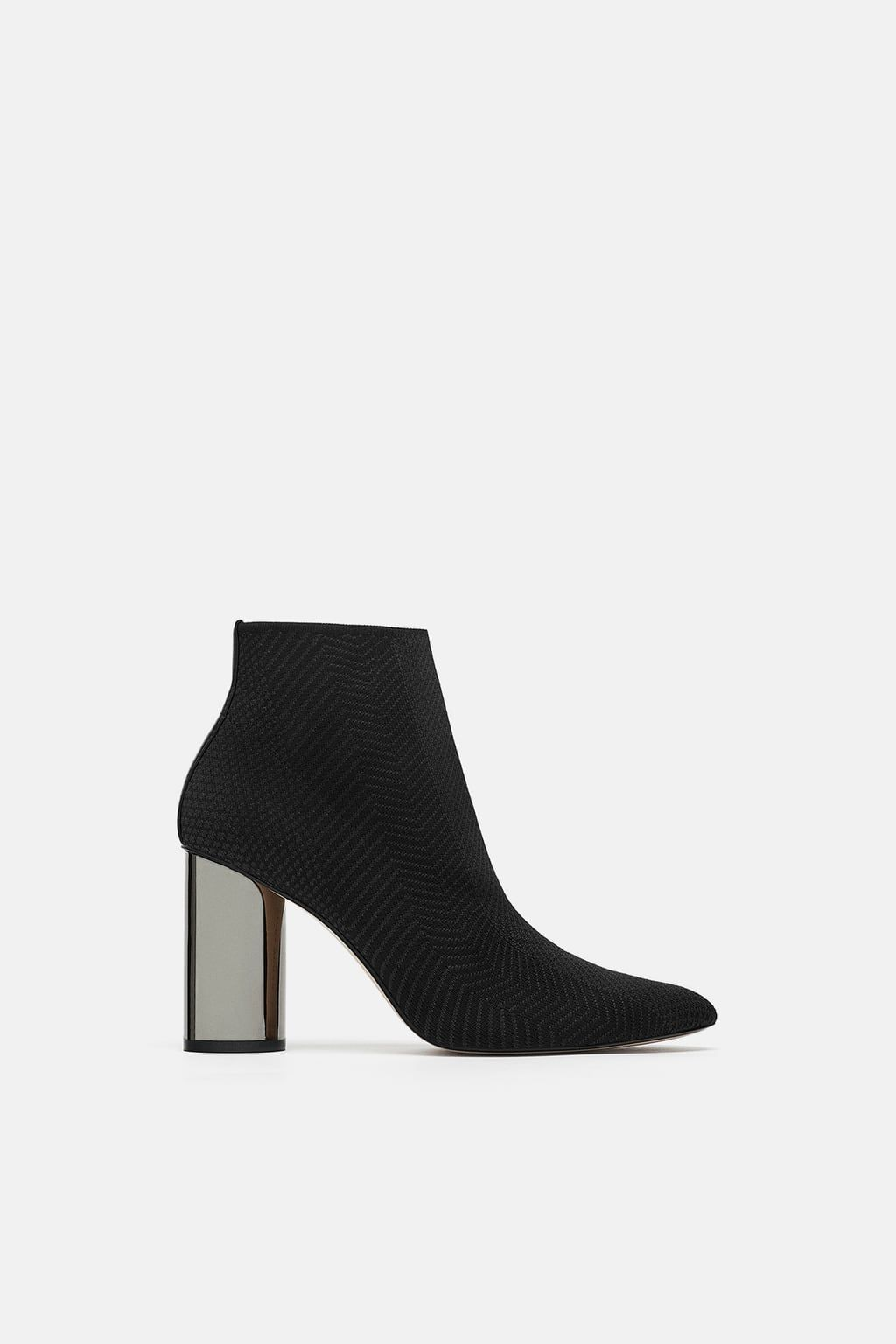 dcf796870667 Image 2 of FABRIC ANKLE BOOT WITH METALLIC HEEL from Zara