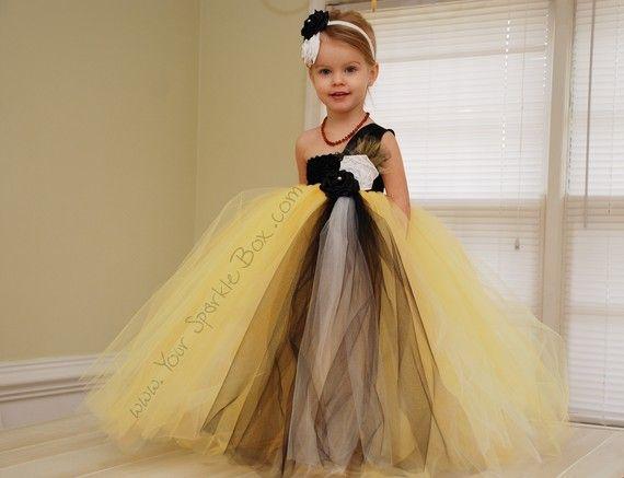 Yellow Black and White Flower Girl Dress