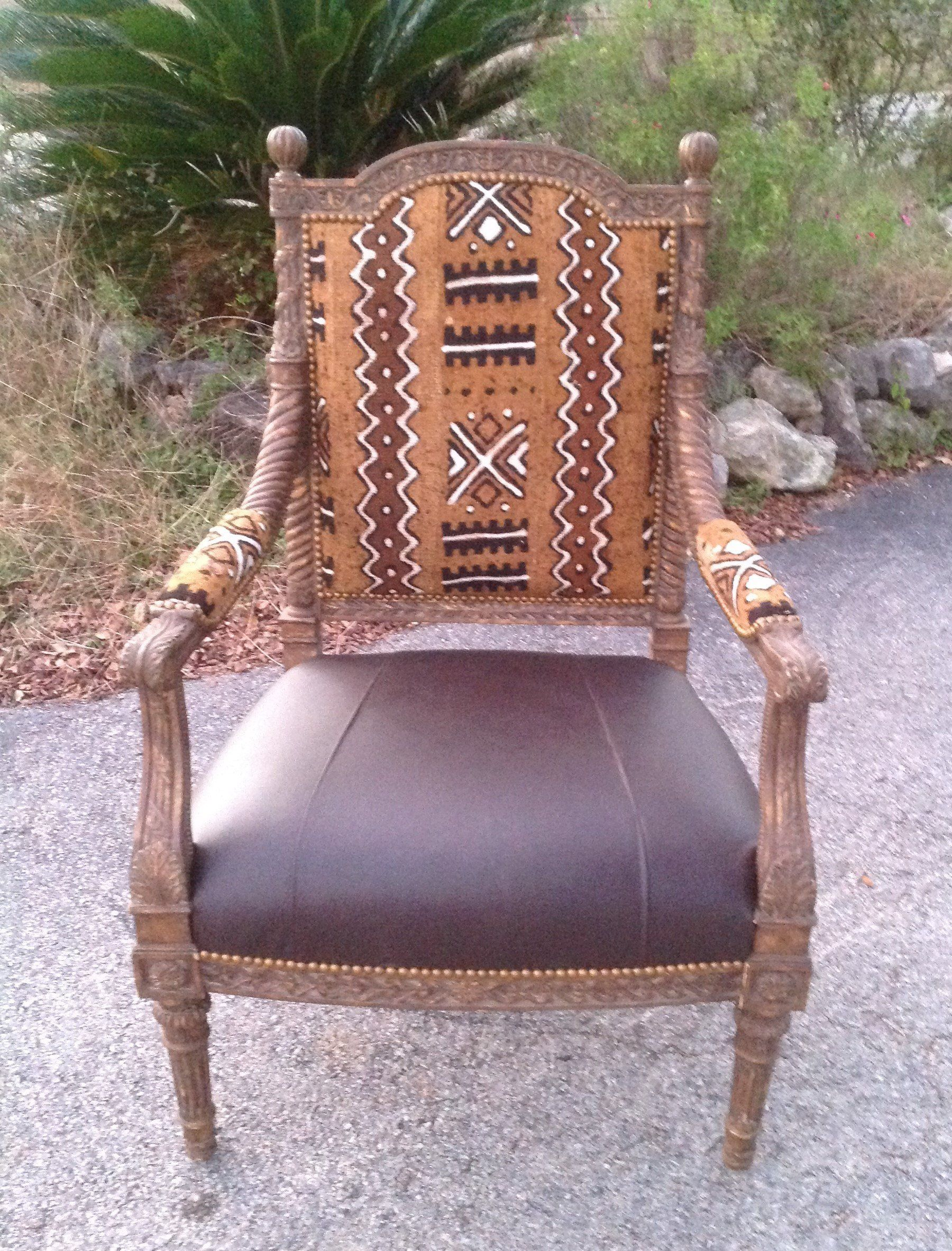 Awesome African Mud Cloth Chair Accent Chair Leather Chair Arm Dailytribune Chair Design For Home Dailytribuneorg
