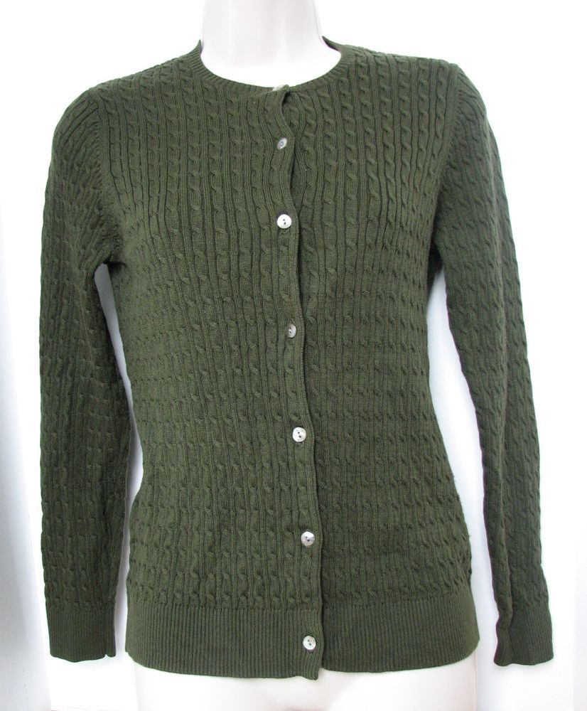 Lands' End Women Cable Knit Green Cardigan Sweater xs 2-4 Long ...