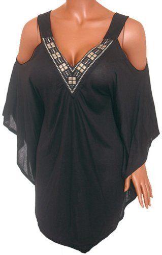 9bd7d85d4bd FUNFASH SLIMMING BLACK ANGEL SLEEVES TOP SHIRT CLOTHING Plus Size Made in  USA Funfash