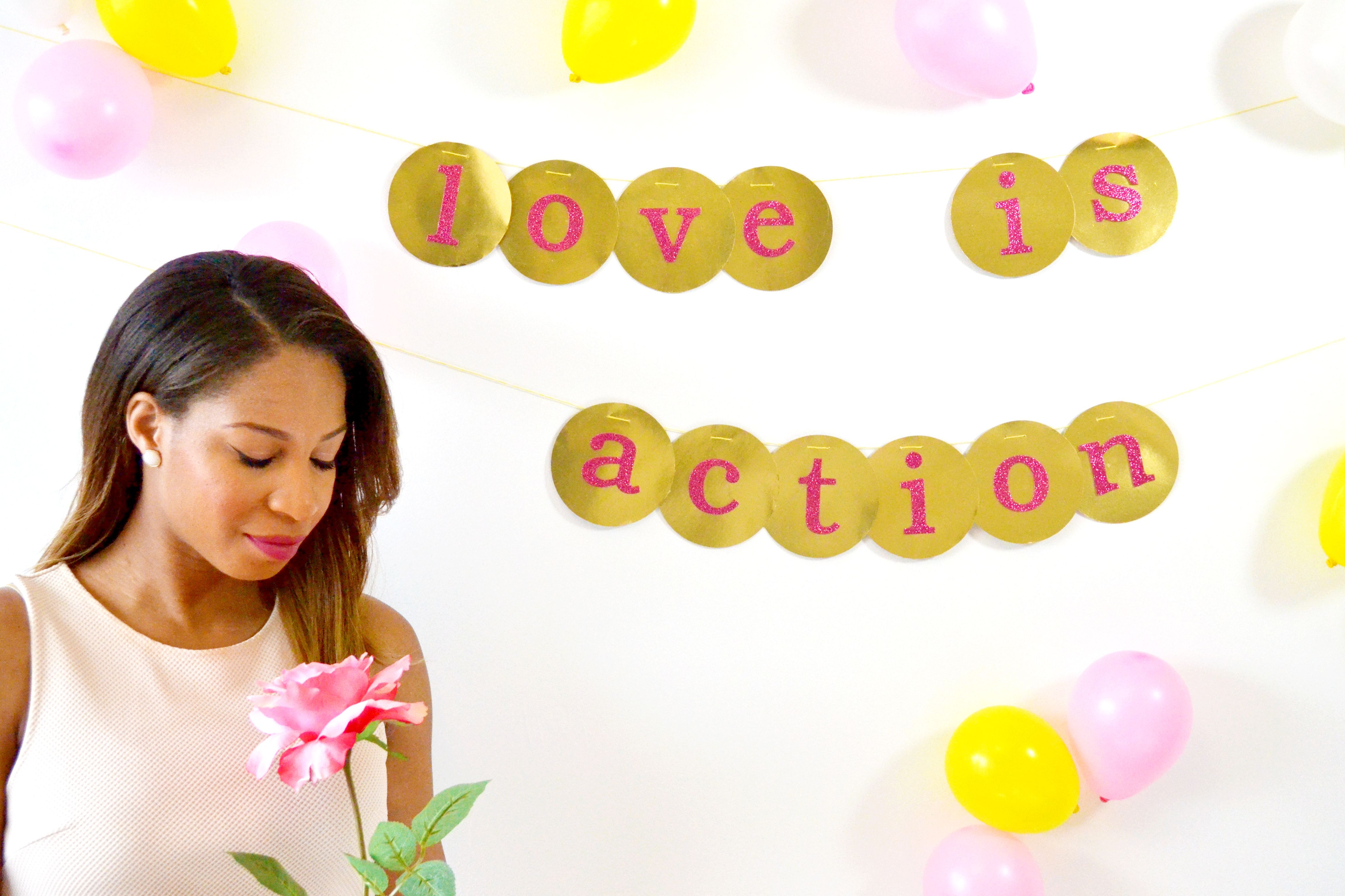 Love is action! Make this easy Valentine's Day banner with just a few supplies- new on the blog! #sparkandchemistry