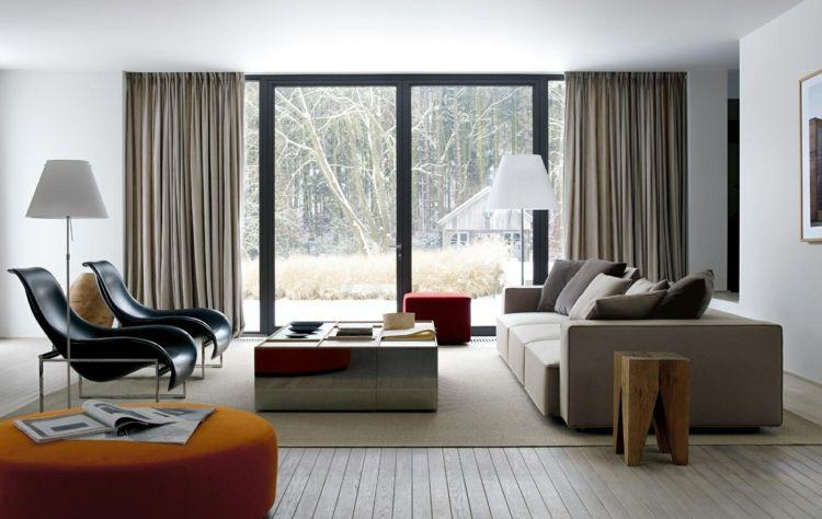Wohnzimmer Einrichten Ideen In Weiß, Schwarz Und Grau Sample