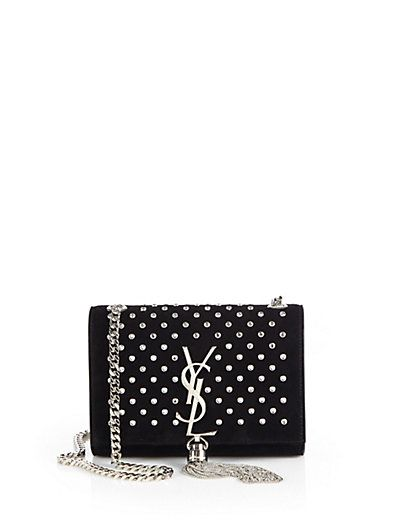e6467cfe12af Saint Laurent - Saint Laurent Monogram Crystal Suede Small Chain Shoulder  Bag