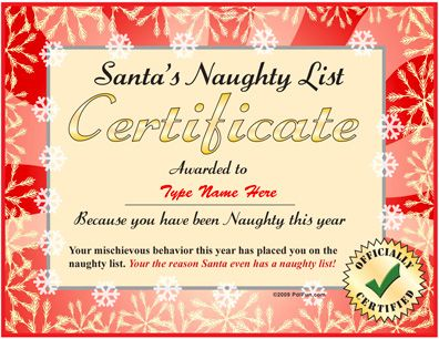 Santau0027s Naughty List Certificate Free Download · Christmas List  MakerChristmas ...  Christmas List Maker Free