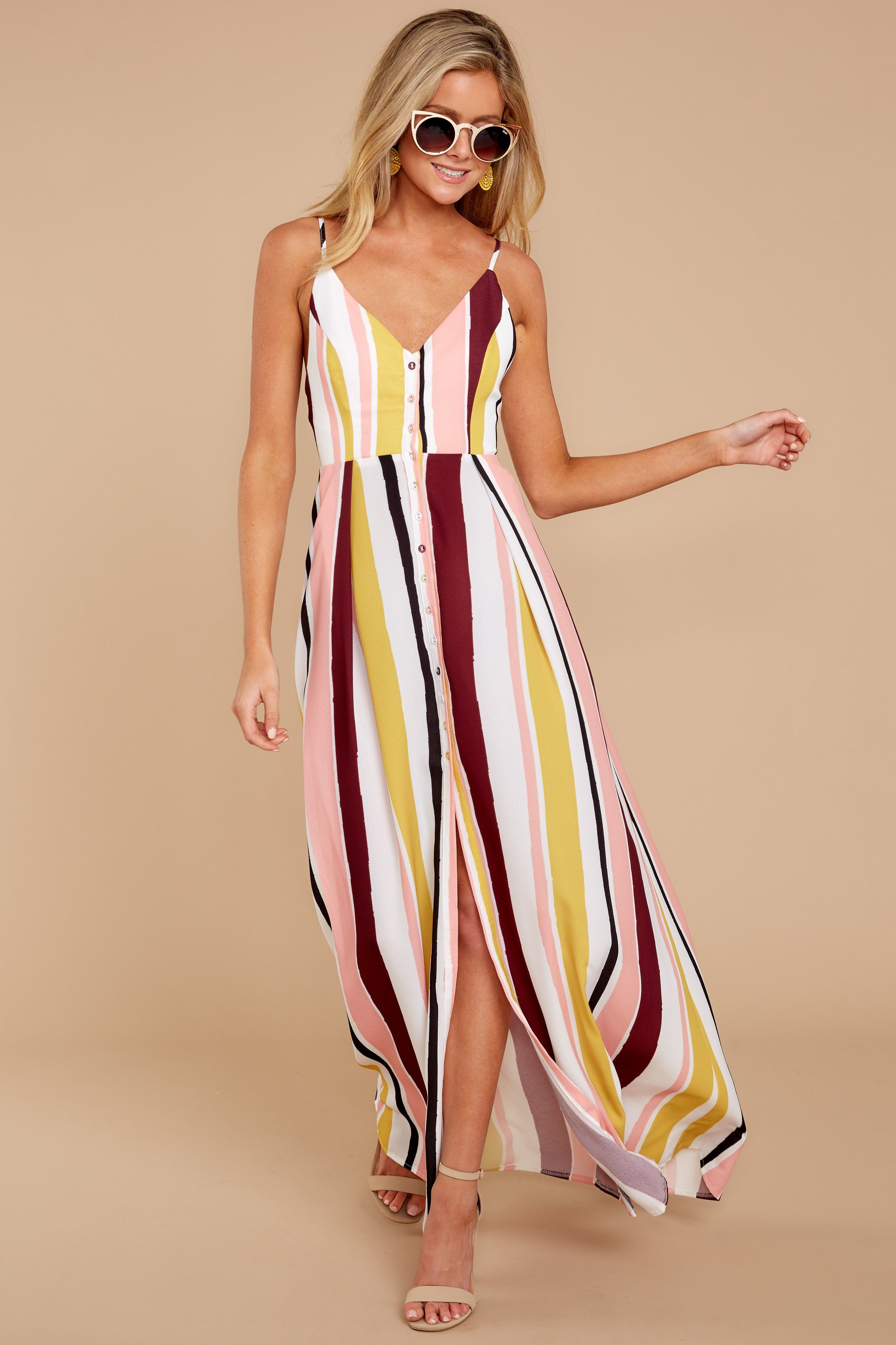ffe3fa89140 Pink Multi Stripe Maxi Dress - Trendy Maxi Dress - Maxi Dress -  54 – Red Dress  Boutique