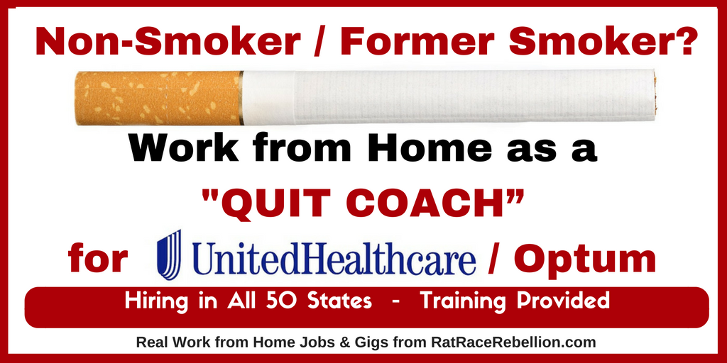 """NonSmoker / Former Smoker? Work from Home as a """"Quit"""