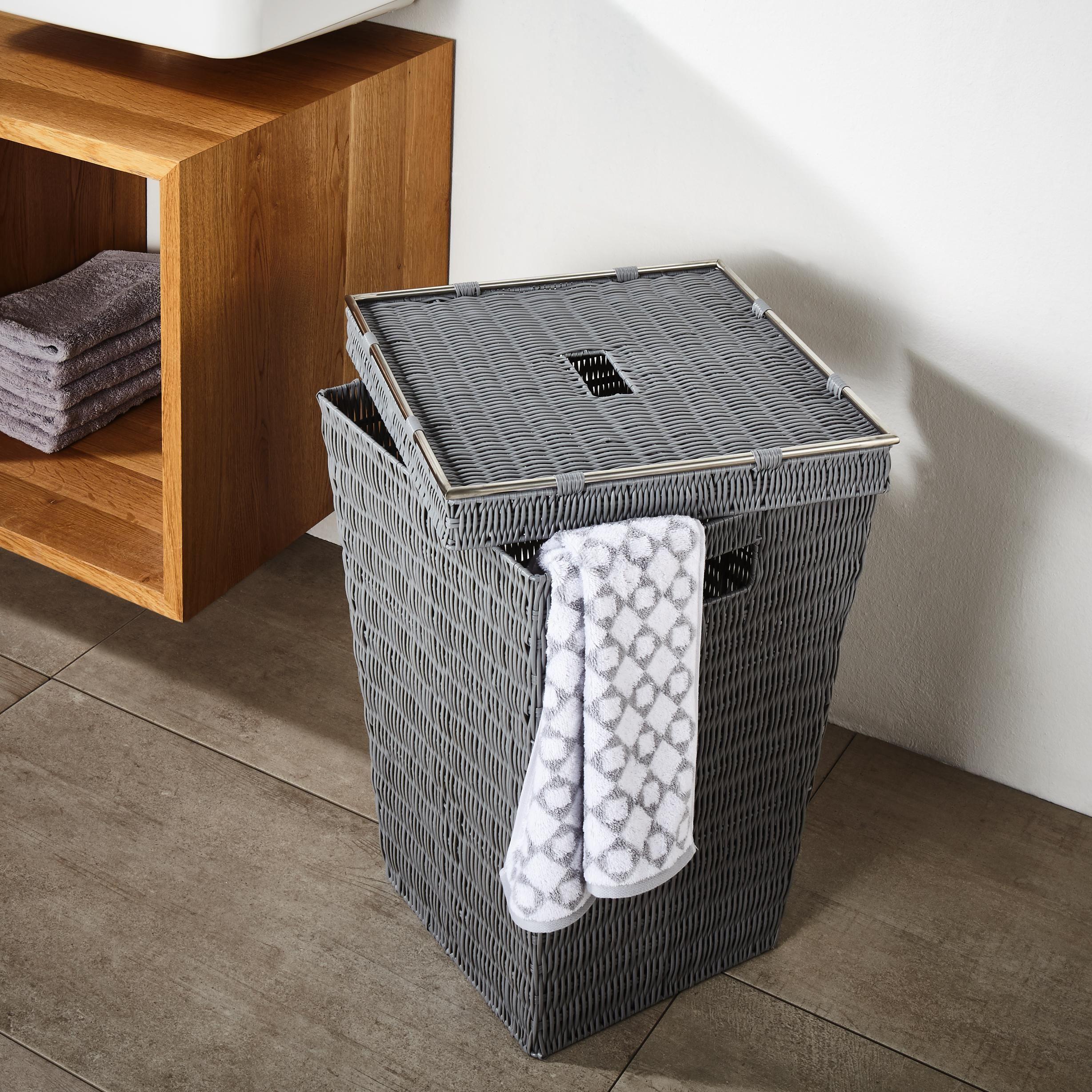 Mit Diesem Wäschekorb Ganz Einfach Für Mehr Ordnung Im Badezimmer Sorgen:  Getragene Wäsche Kann Am Ende Des Tages Blickdicht In Der Tonne Verstaut  Werden.