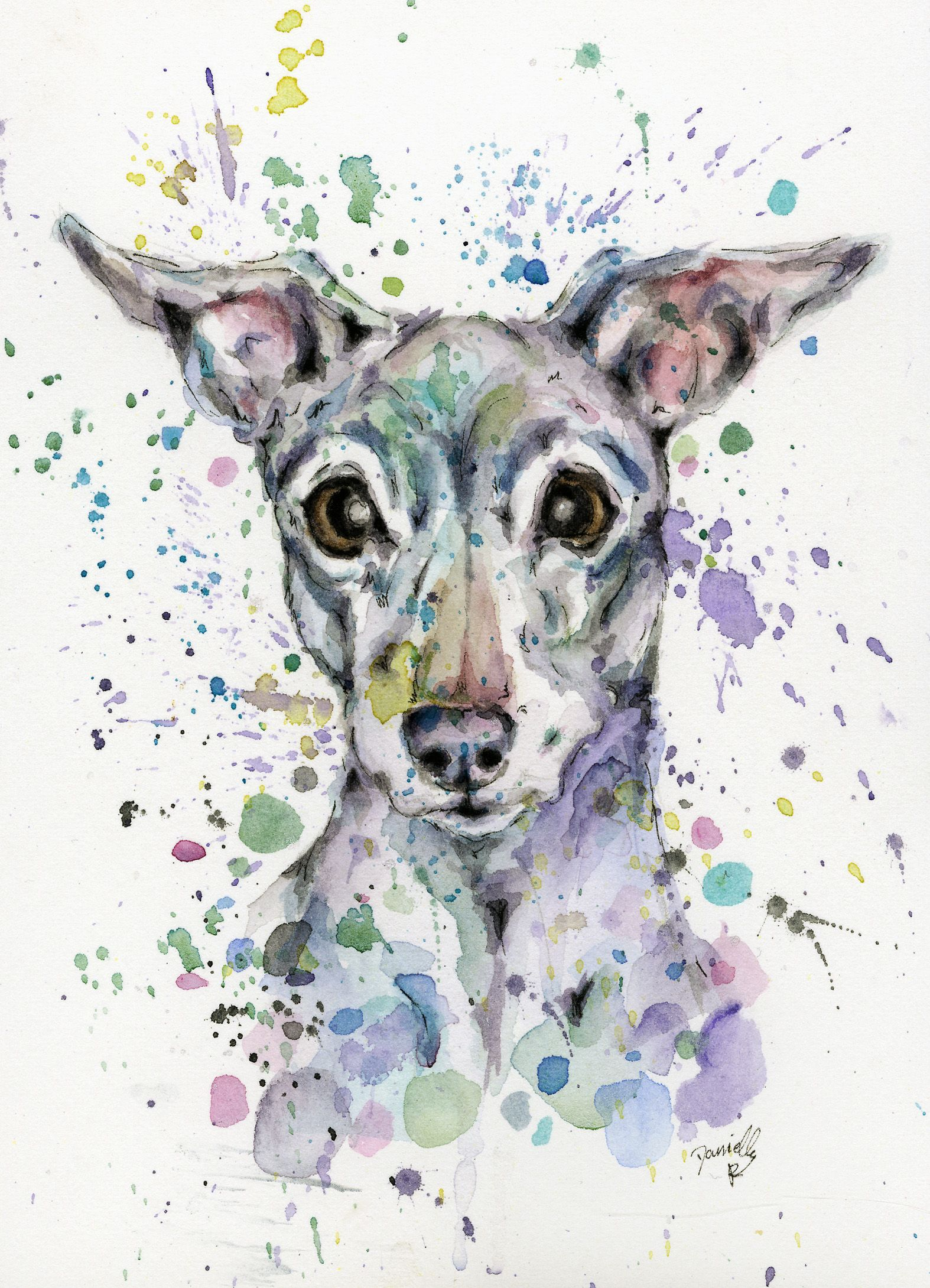 Custom watercolour pet portrait painting of my dog gift