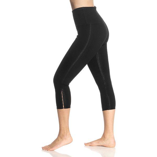 Lyssé Leggings Black Hook & Eye Shaper Capri Leggings ($18) ❤ liked on Polyvore featuring pants, leggings, cotton capri leggings, cotton pants, slim pants, lined leggings and high waisted cotton leggings
