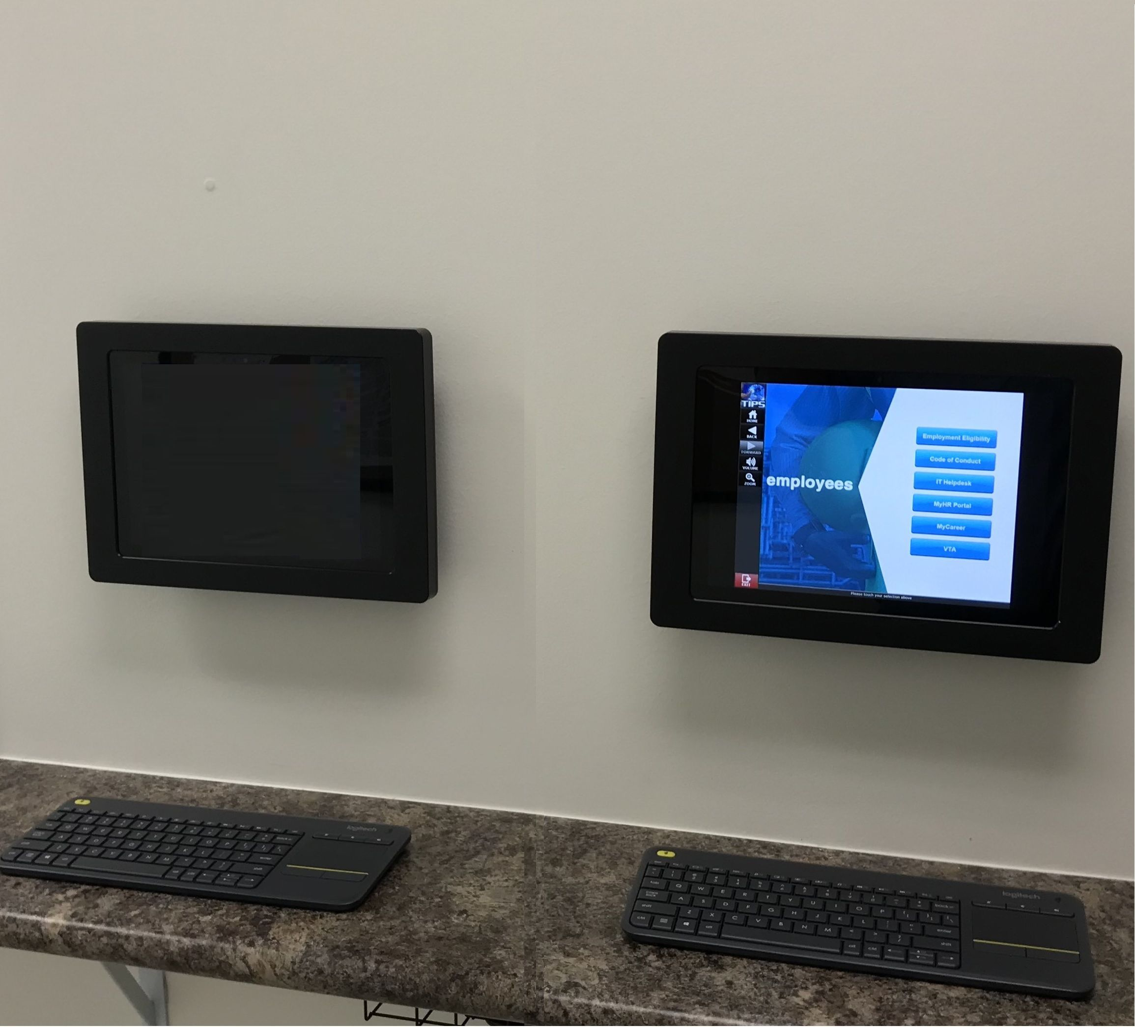 Our Secure Vesa Enclosure Vesa Wall Mount Is Perfect Help For Getting Your Employees The Quick Hr Assistance T In 2020 Ipad Mount Digital Signage Interactive Display