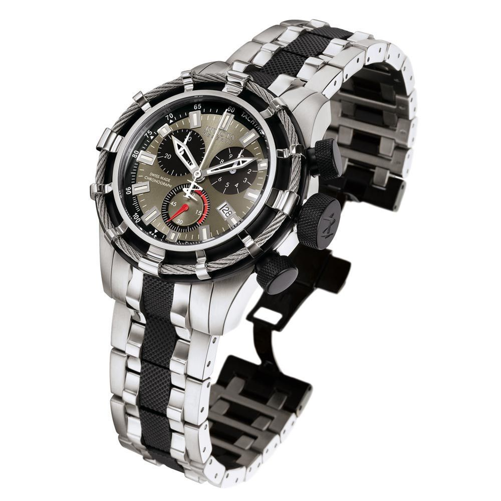 Invicta menus reserve bolt black dial two tone steel bracelet