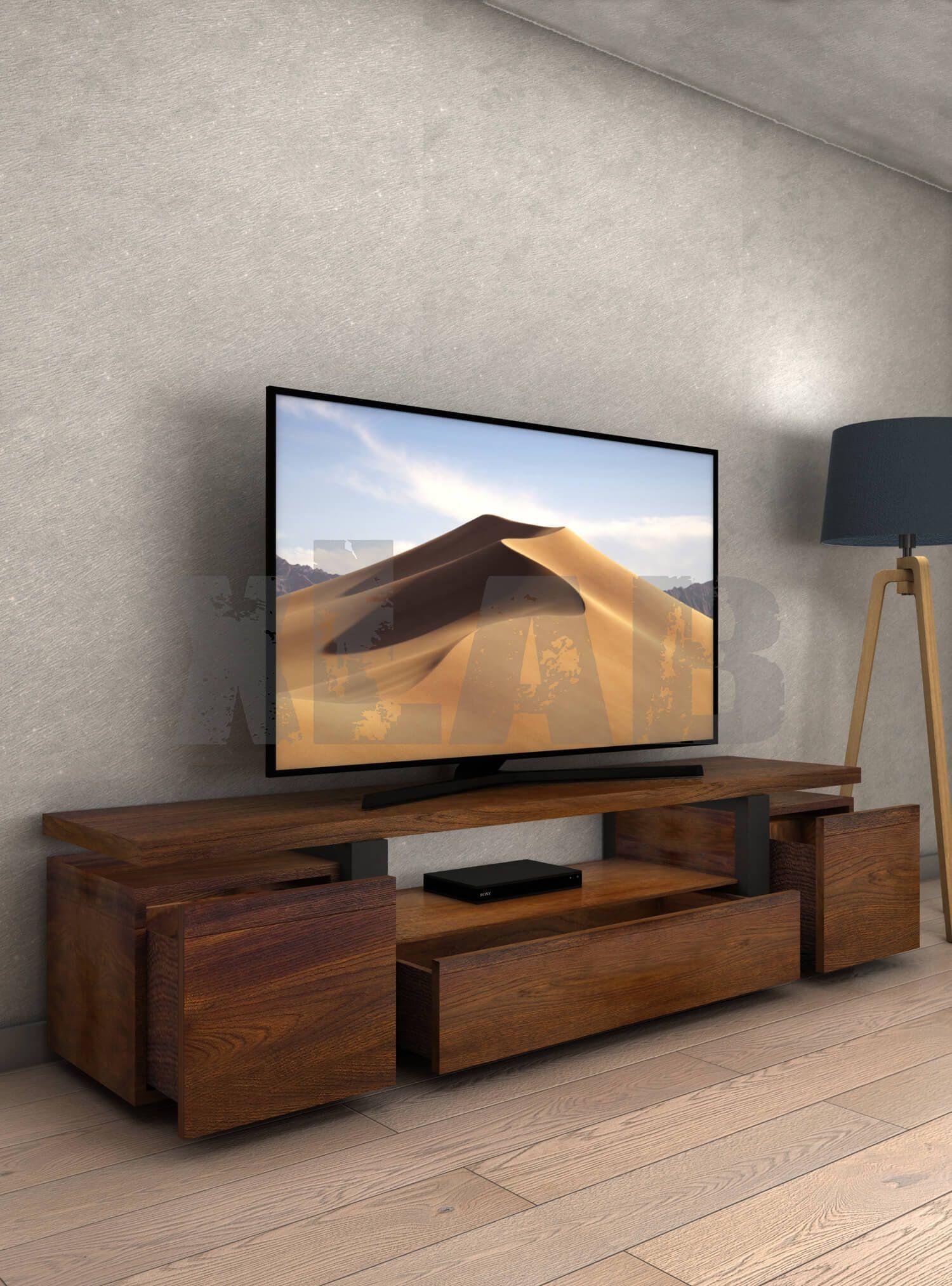 Mobili Porta Tv Stile Industriale.Mobile Porta Tv Stile Industriale In Legno Listellare Di Noce