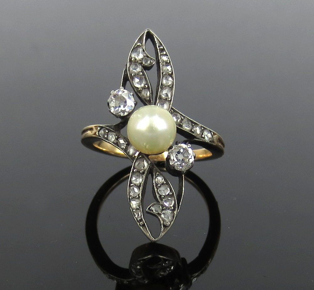 Antique 0.50ct Old Cut Diamond & 6.4mm Natural Pearl Silver & Gold Ring