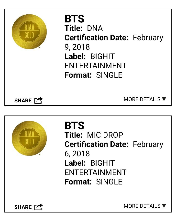 Bts Mic Drop And Dna Are Now Both Certified Gold By Riaa