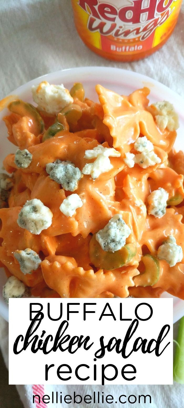 Buffalo Chicken Salad Recipe #buffalochickenpastasalad Creamy, spicy, and full of amazing buffalo flavor! This is an easy and simple chicken salad that wows a crowd. Perfect for potlucks, picnics, and events, this pasta salad is a copycat recipe from a favorite deli recipe. #buffalochicken #buffalochickenpastasalad
