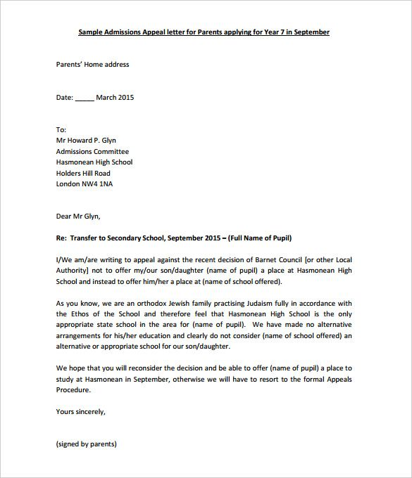 Academic Appeal Letter 11 Appeal Letter Templates Free Sle Exle Format Free Premium .