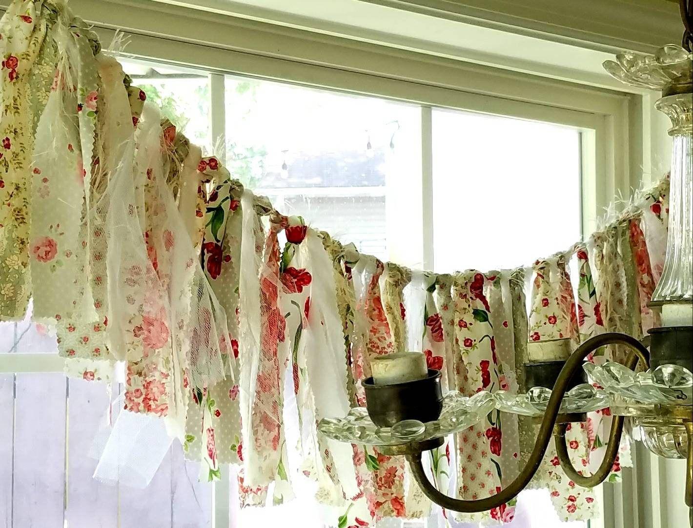 Under window decor  shabby garland banner cottage window valance wedding arch decoration