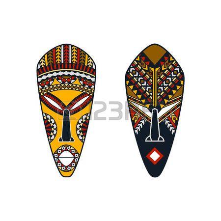 mascaras africanas: conjunto de dos máscaras africanas con la decoración étnica