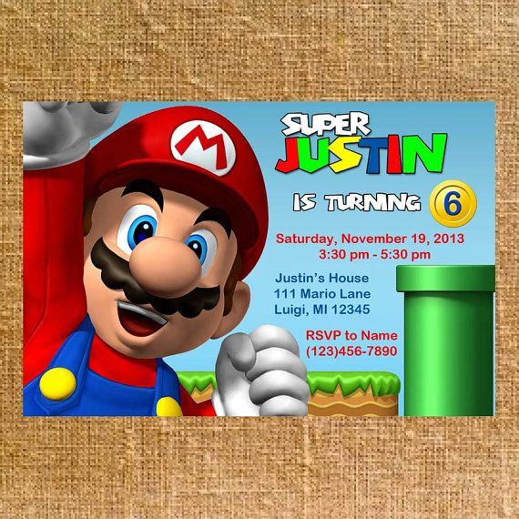 Customized Super Mario Bros Birthday Party Invite Digital File – Mario Party Invites