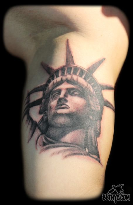 Statue of Liberty Tattoo by Nasa at BLTNYC Tattoo Shop Queens #statueofliberty #tattoo #tattooidea #nyc