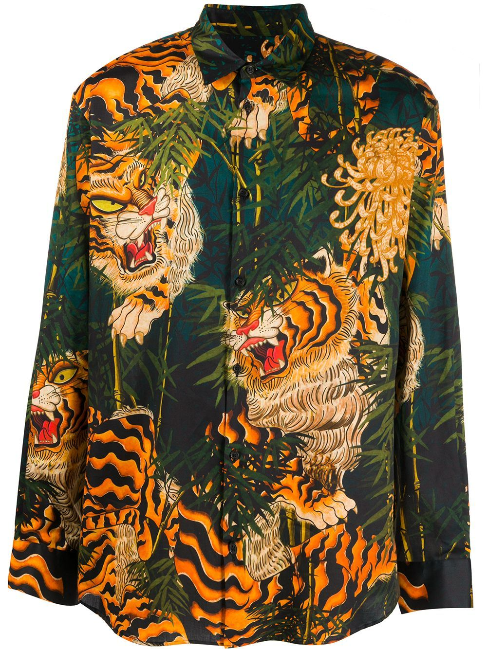 Dsquared2 Tiger Bamboo Print Long Sleeved Shirt Green In 2020
