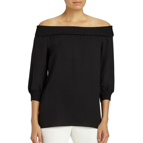 Lafayette 148 New York Ribbed Off-The-Shoulder Sweater ($448) ❤ liked on Polyvore featuring tops, sweaters, black, pullover sweaters, lafayette 148 new york, off shoulder tops, off shoulder sweater and 3/4 sleeve sweaters