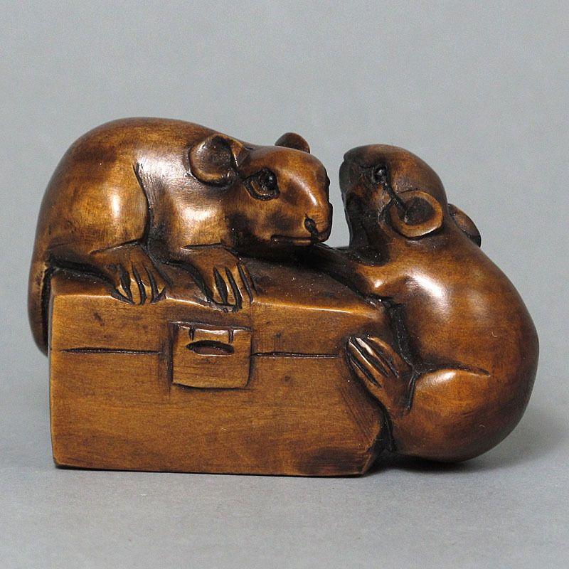 Boxwood Netsuke MICE ON BOX Carving SALE! WN152