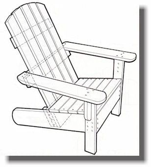 Adirondack Chairs   Shows Layout On Each Piece Of Wood